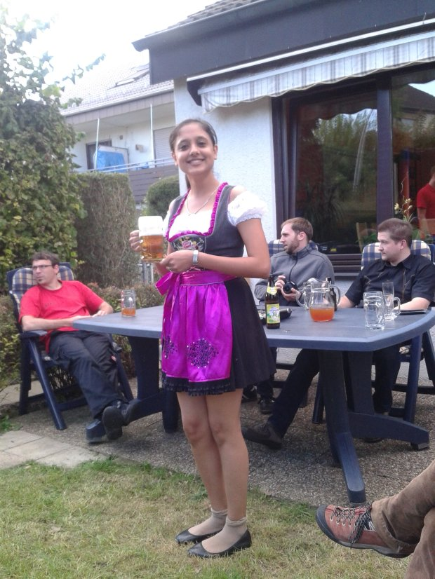 Dirlndl and beer - signs of turning into German for sure!